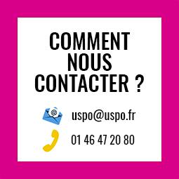 Comment nous contacter ? uspo@uspo.fr - 01 46 47 20 80